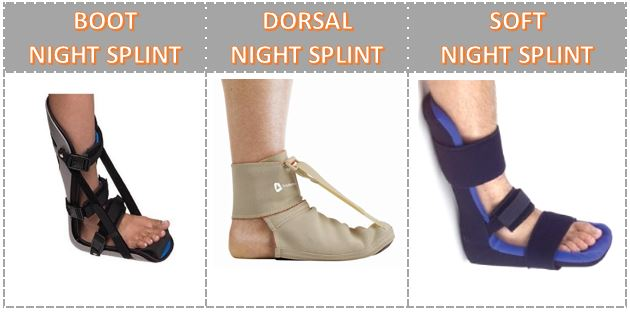 boot, dorsal, soft night splints